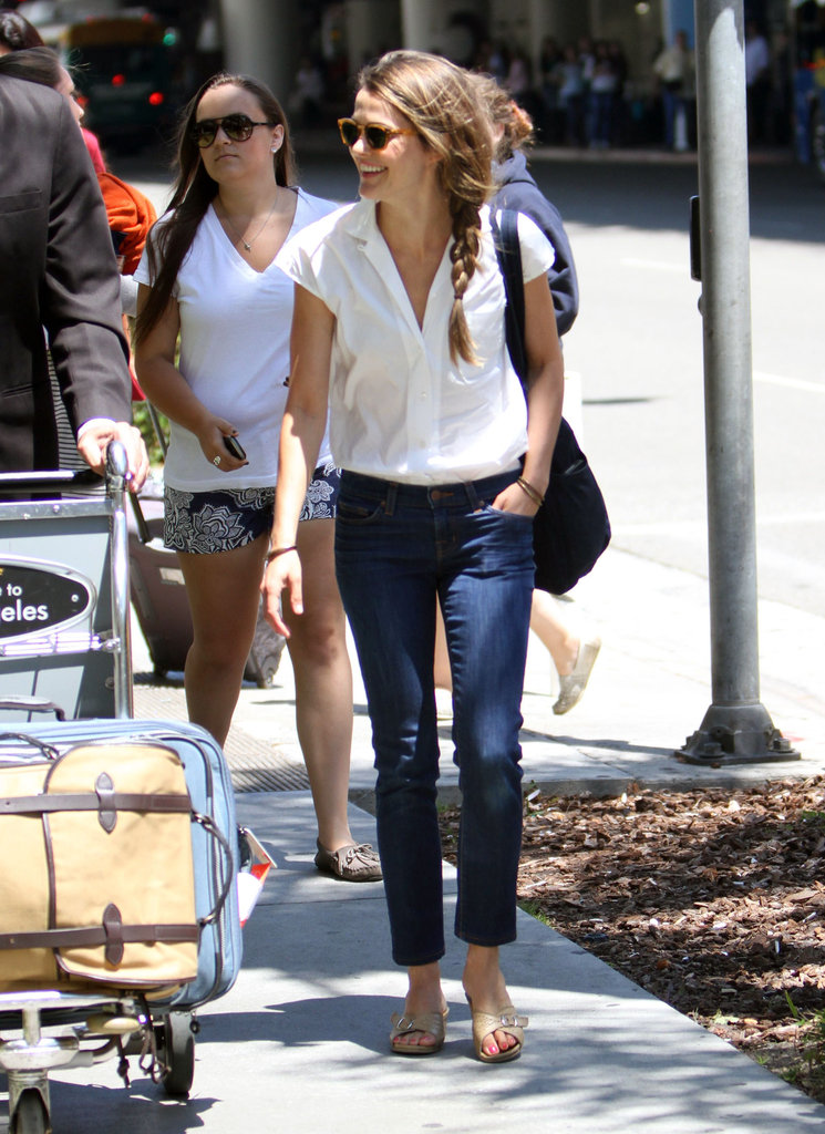 Keri Russell walked out of LAX laughing.