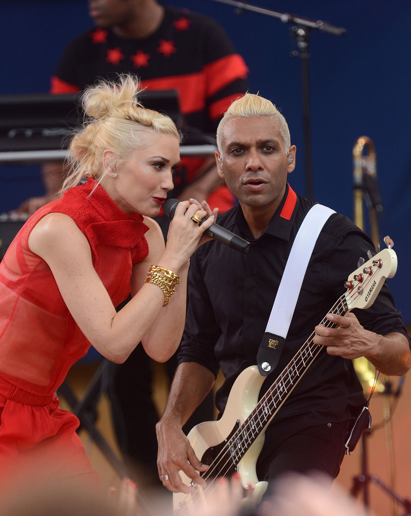 Gwen Stefani sung with her bassist Tony Kanal on Good Morning America.