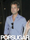 Joshua Jackson wore a blue shirt to dinner in LA.