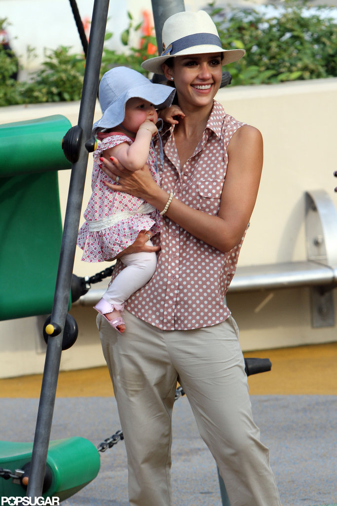 Jessica Alba smiled holding Haven in NYC.