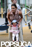 Jessica Alba helped Haven walk at a playground in NYC.