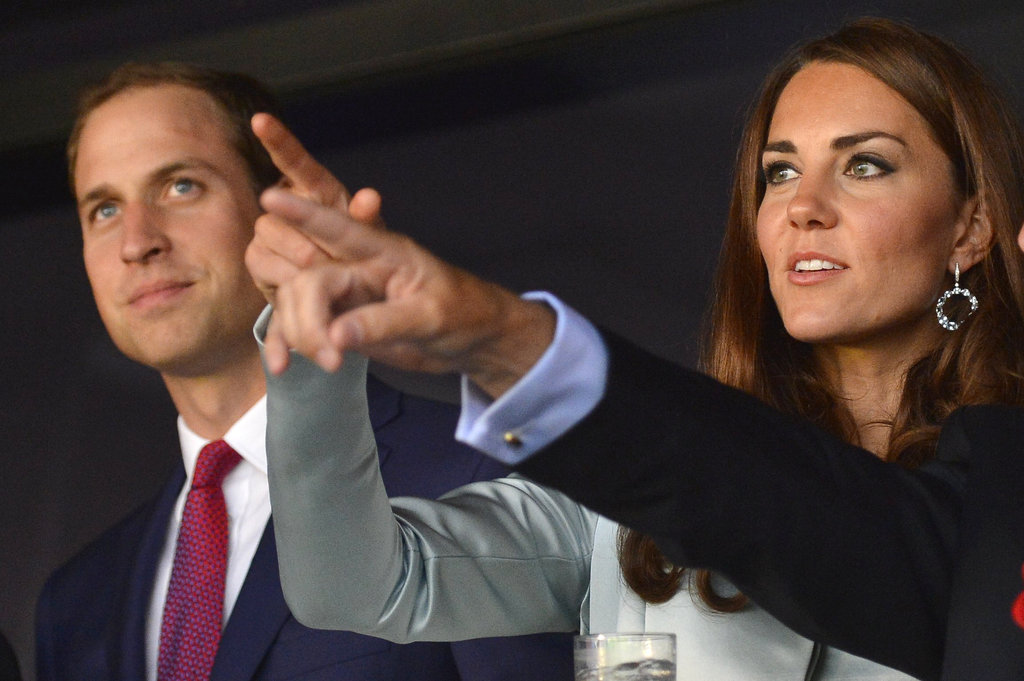 Prince William and Kate Middleton pointed during the ceremony.
