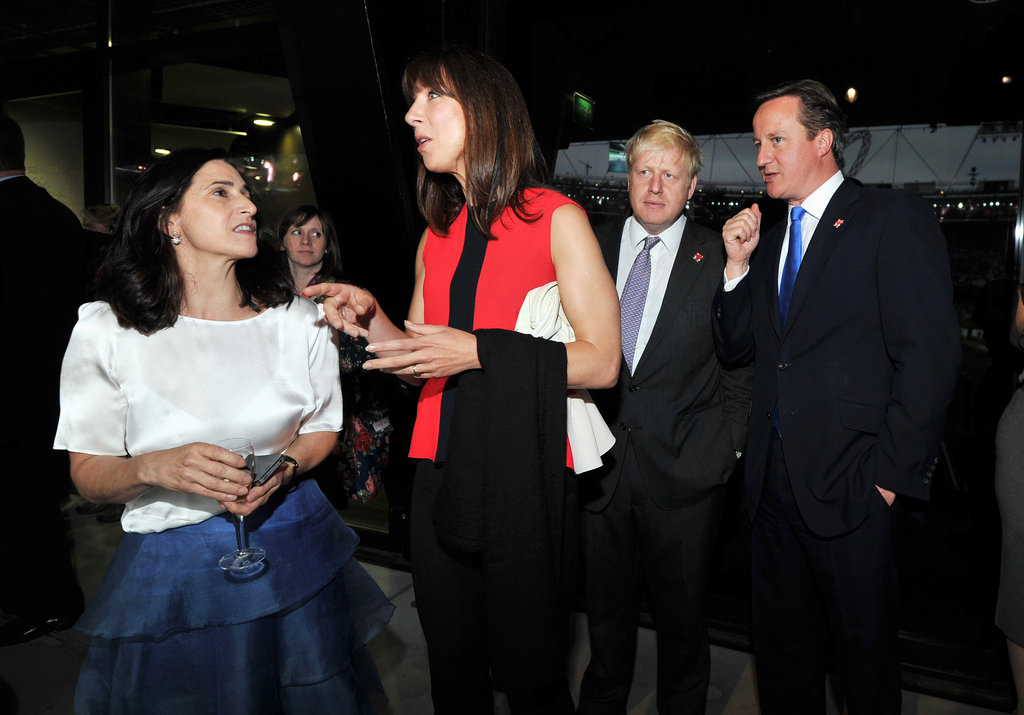 Prime Minister David Cameron; his wife, Samantha; Mayor of London Boris Johnson; and his wife, Marina Wheeler; attended the opening ceremony together.