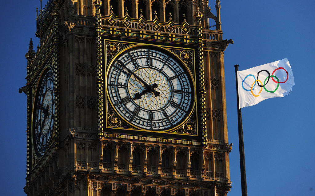 The Olympic flag waved beside Big Ben.