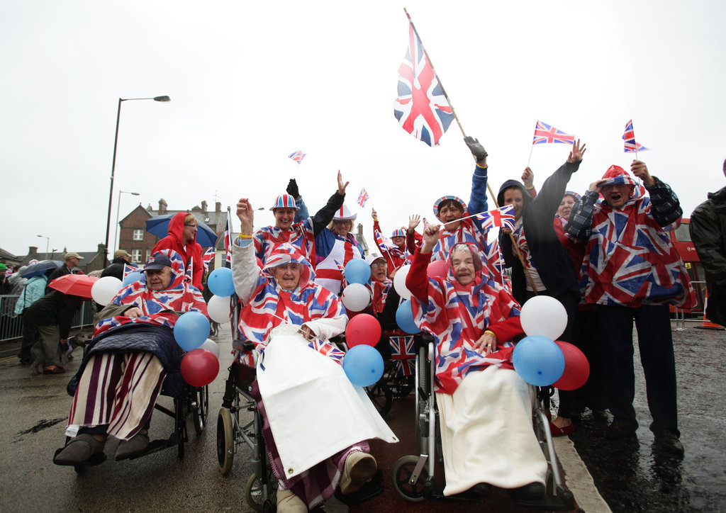 Residents from Meadow Park Care Home showed their patriotism ahead of the torch relay in Bedlington, England.