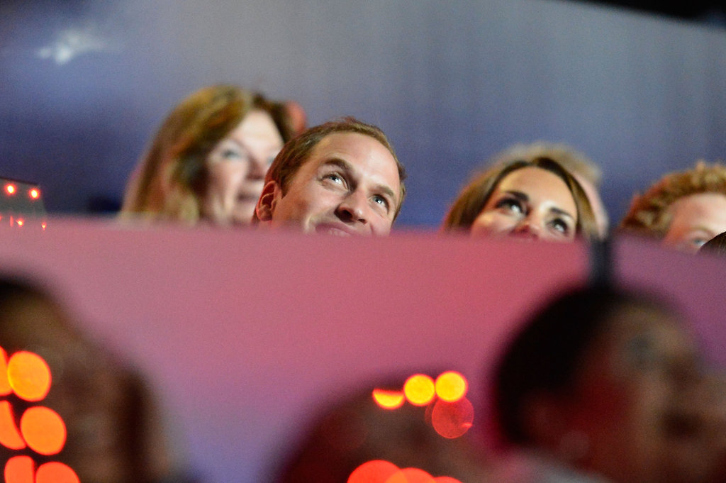 Prince William and Kate Middleton looked up.