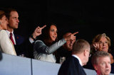 Kate Middleton and Prince William pointed from their seats at the opening ceremony.