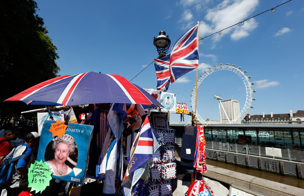Vendors prepped for the Olympics in London.