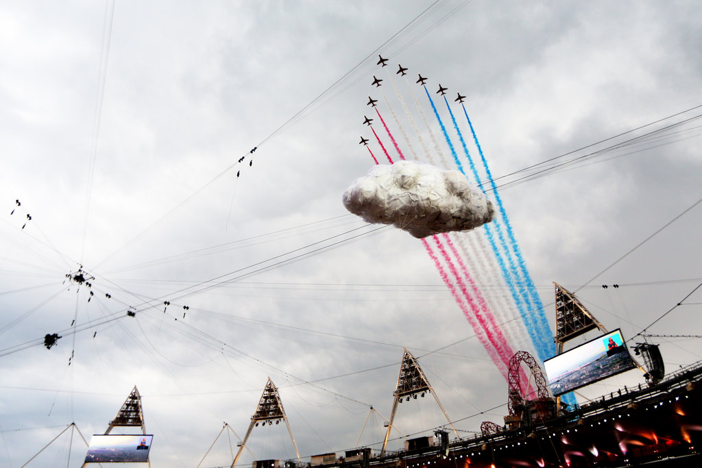 The Red Arrows, the Royal Air Force aerobatic team, flew over the stadium during the opening ceremony.