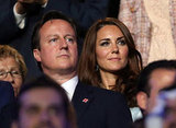 Kate Middleton sat behind Prime Minister David Cameron.