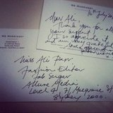 Peter Morrissey sure knows how to charm a lady. Check out his lovely note to FabSugar editor Ali.