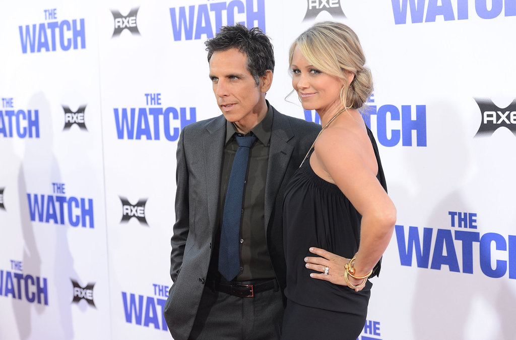Ben Stiller and Christine Taylor posed at the LA premiere of The Watch on July 23.