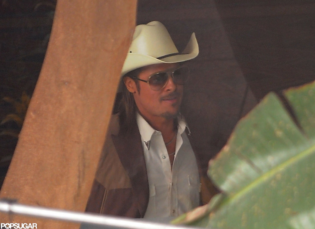 Brad Pitt dressed as a cowboy.