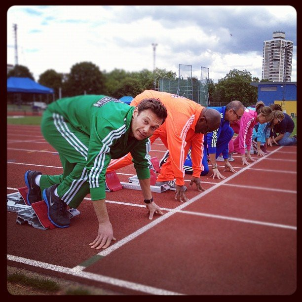 Ryan Seacrest and the rest of the Today team tried their hand at track. Source: Instragram user ryanseacrest