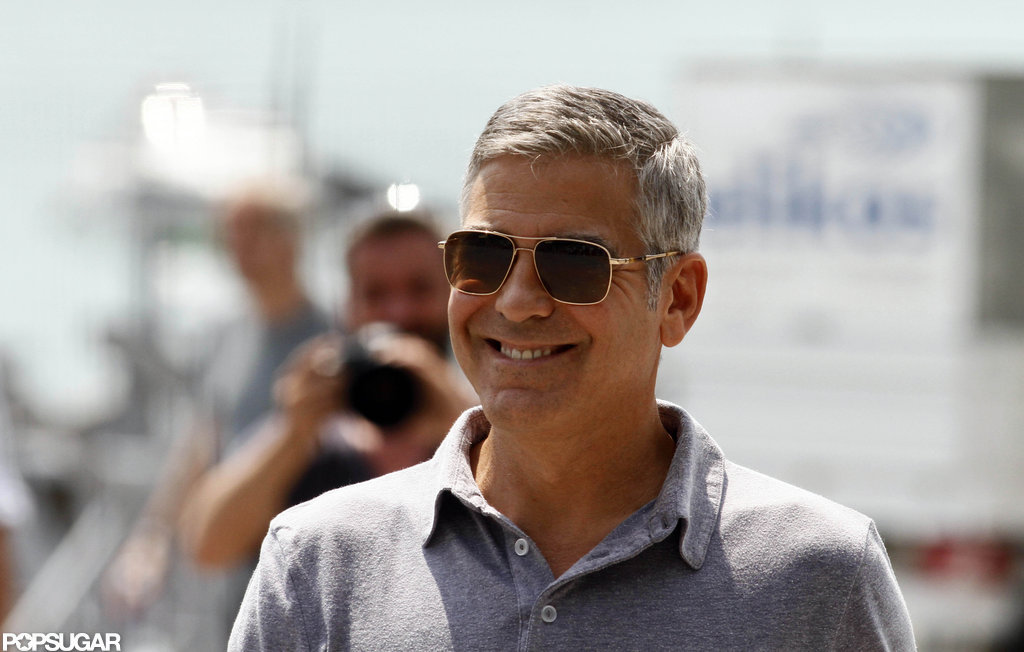 George Clooney flashed a bright smile.