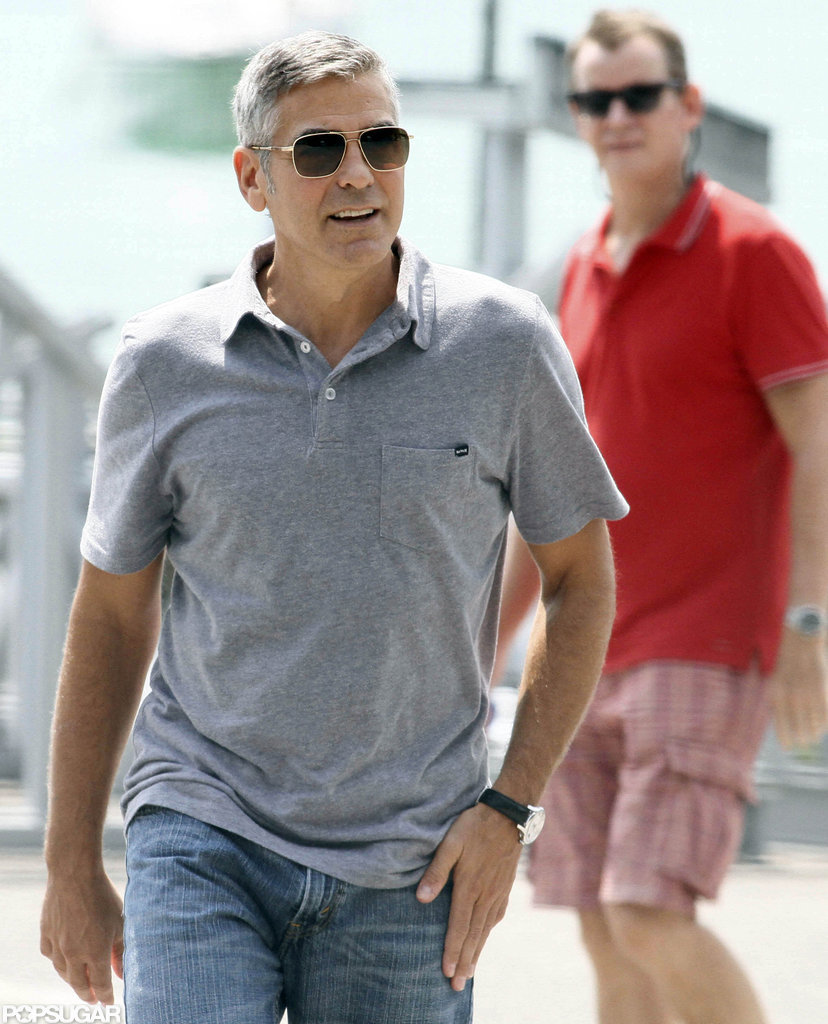 George Clooney arrived on set in a casual polo.