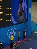Ryan Lochte accepted his gold medal for a win in the 400 IM race.  Source: Twitter user ryanlochte