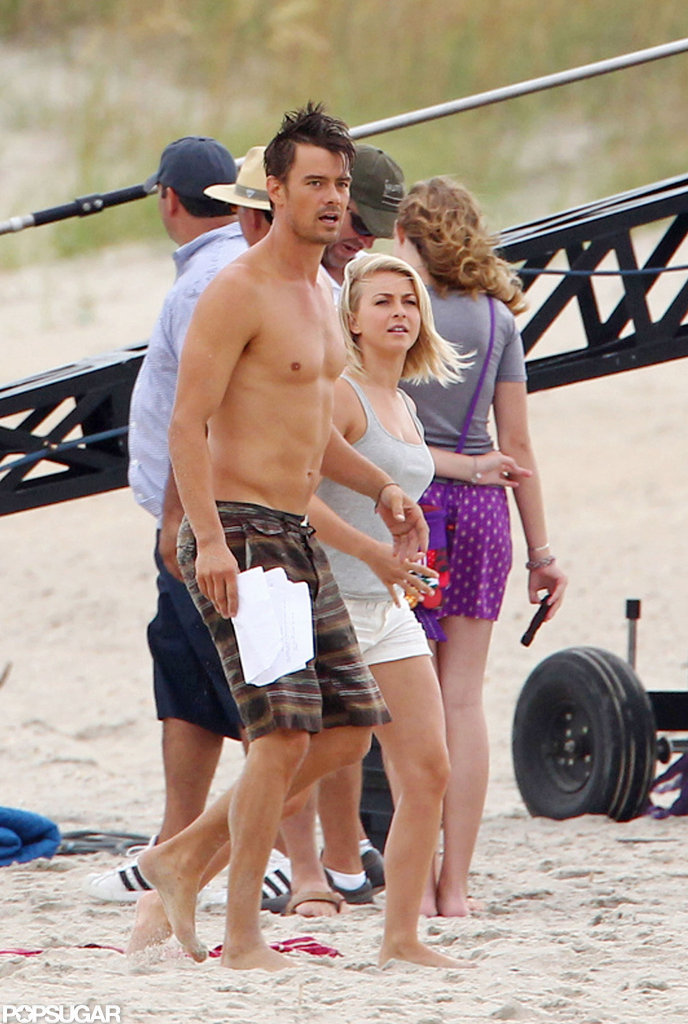 Josh Duhamel rehearsed a scene with Julianne Hough.