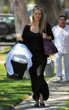 Molly Sims took her infant son, Brooks Stuber, to the doctor's office in LA on Friday.