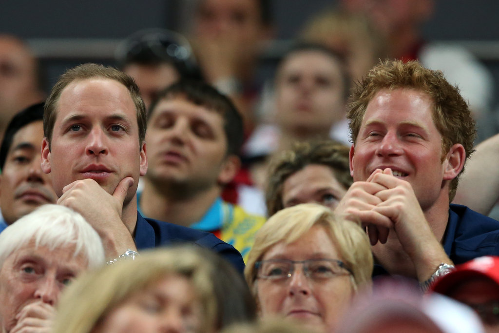 Prince Harry flashed a smile during the gymnastics event.