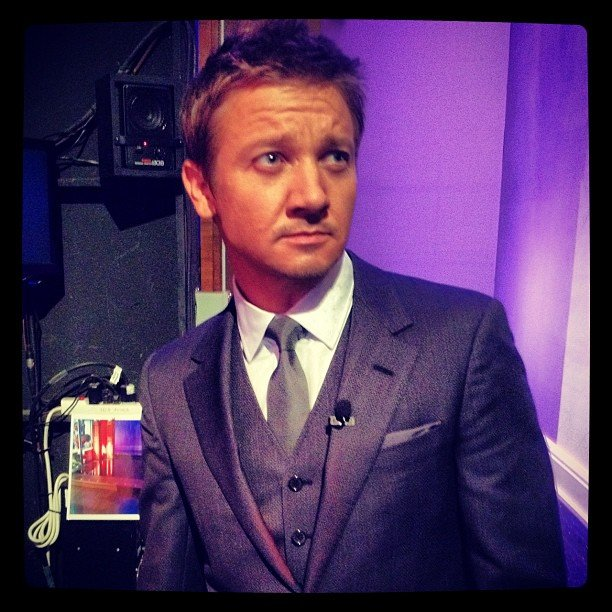 Jeremy Renner looked dapper in a suit and tie backstage at the Tonight show. Source: Instagram user tonightshow