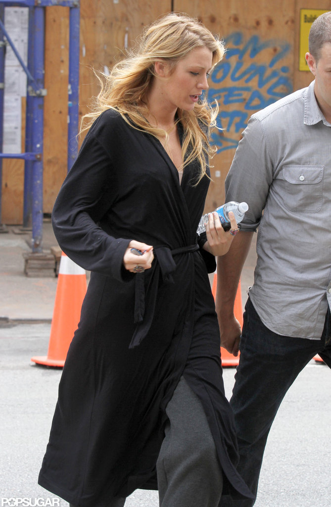 Blake Lively wore her hair down on set.