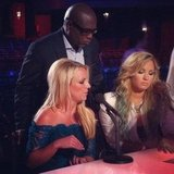 "Britney Spears, LA Reid, and Demi Lovato were ""deciding whether to eliminate Simon"" on the set of The X Factor. Source: Instagram user thexfactorusa"