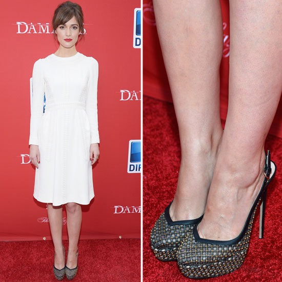 Rose Byrne wore head-to-toe Valentino, but the most dynamic pop came courtesy of her studded slingback pumps.