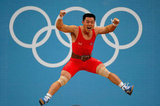 Korean weightlifter Kim Un Guk jumped for joy after setting a world record in the men's 62kg.