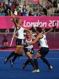 Great Britain's women's hockey team jumped for joy after scoring a goal.