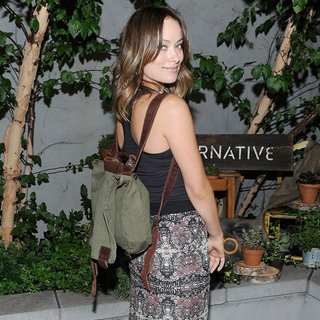 Olivia Wilde Wearing an Army Backpack