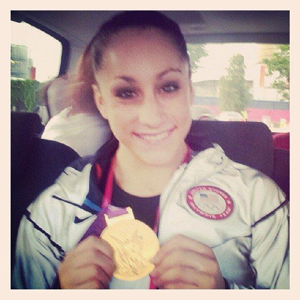 Jordyn Wieber showed off her gold medal.  Source: Twitter user jordyn_wieber