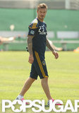 David Beckham took to the field in LA.