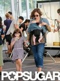 Maggie Gyllenhaal brought girls Ramona and Gloria to visit their dad on the set of Very Good Girls in NYC.