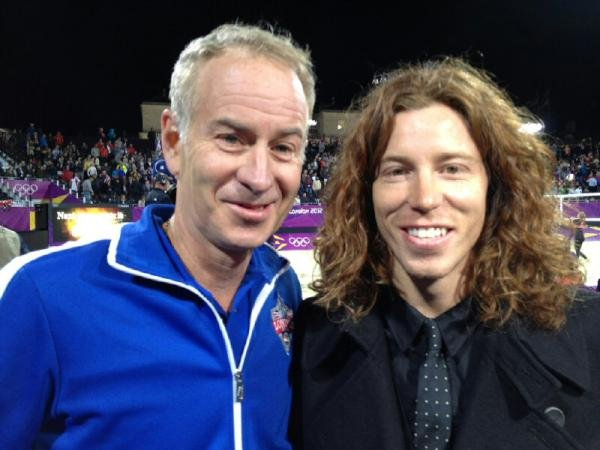 Shaun White watched beach volleyball with John McEnroe. Source: Twitter user shaun_white