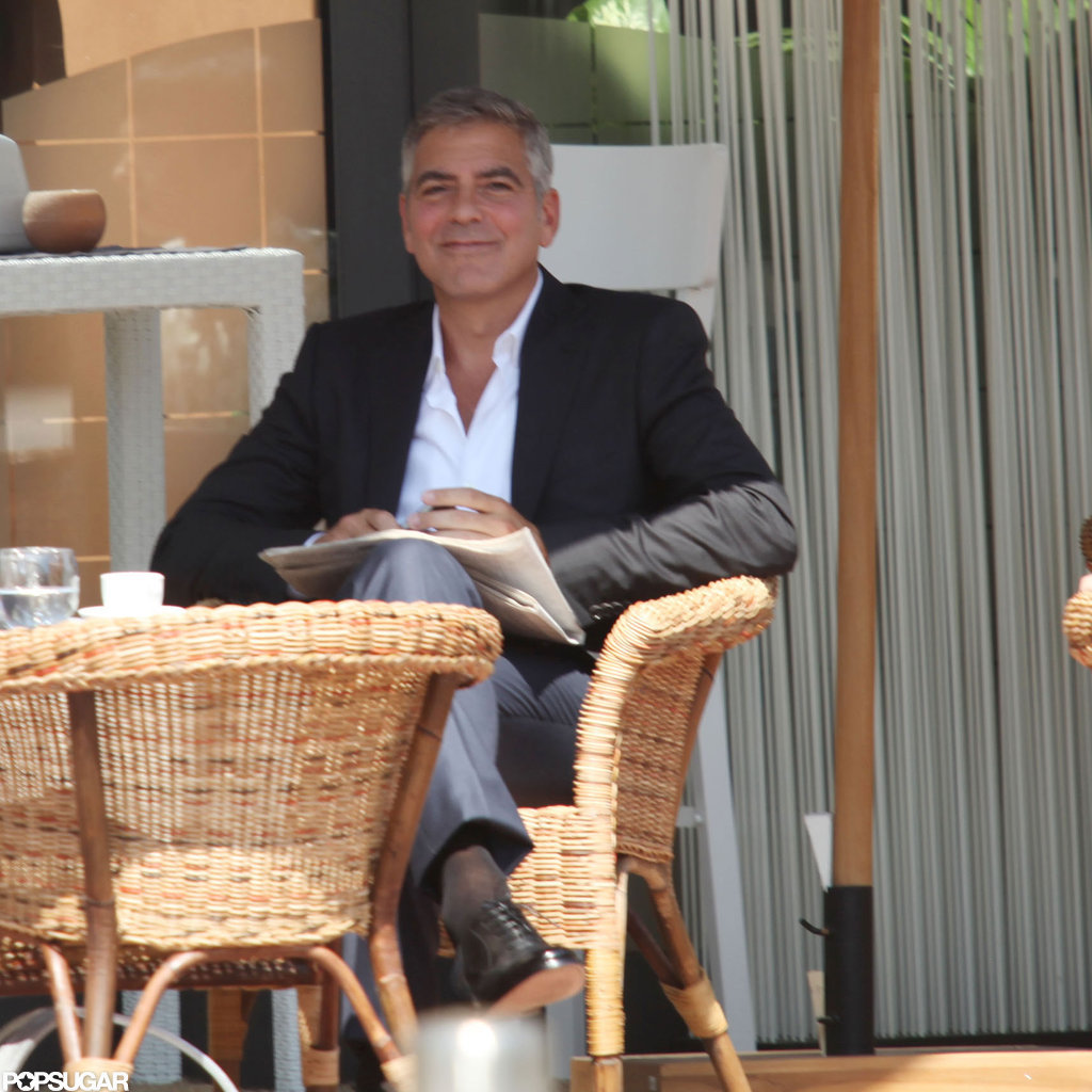 George Clooney smiled for the cameras.