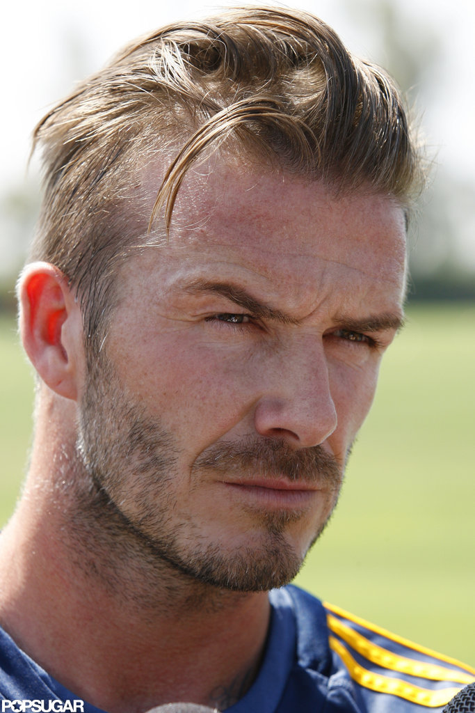 David Beckham was on the field at soccer practice in LA.