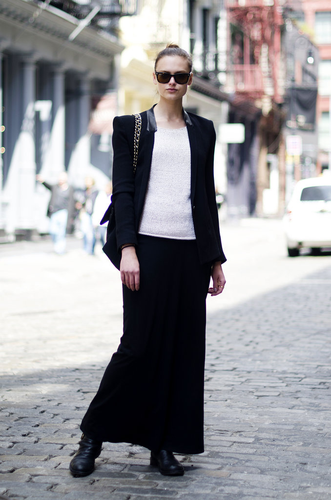 Downtown-chic the easiest way possible with a fitted blazer and a body-grazing maxi skirt. Source: Adam Katz Sinding