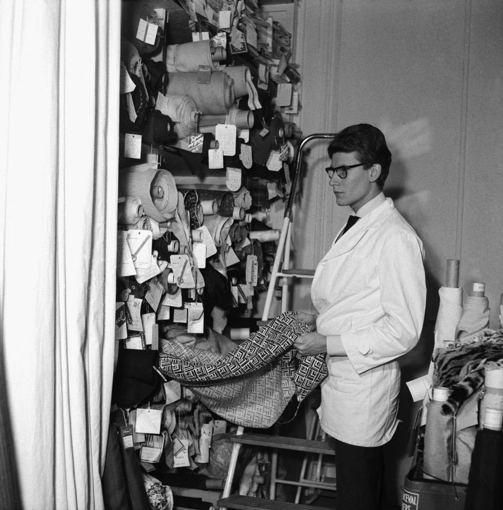 An inside look at YSL choosing fabrics in 1963.