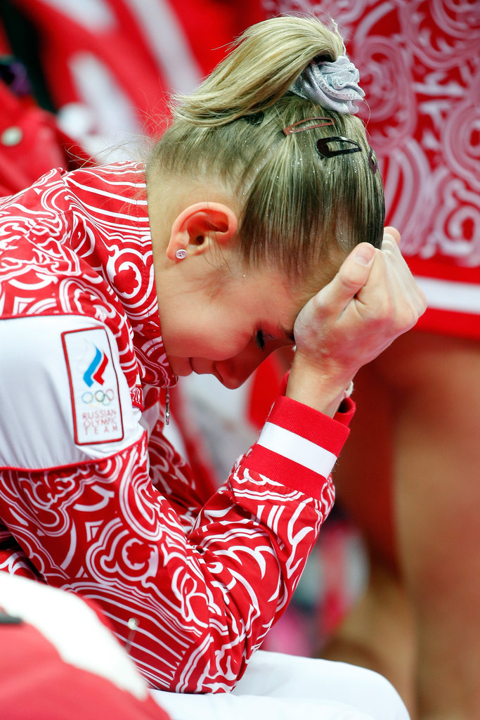 Russian gymnast Victoria Komova was upset after her team lost the gold to Team USA.