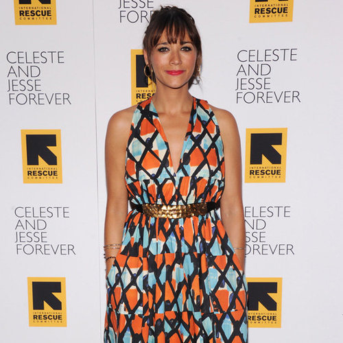 Rashida Jones Wearing Printed Plunge Dress