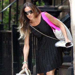 Sarah Jessica Parker Wearing Black Pleated Dress