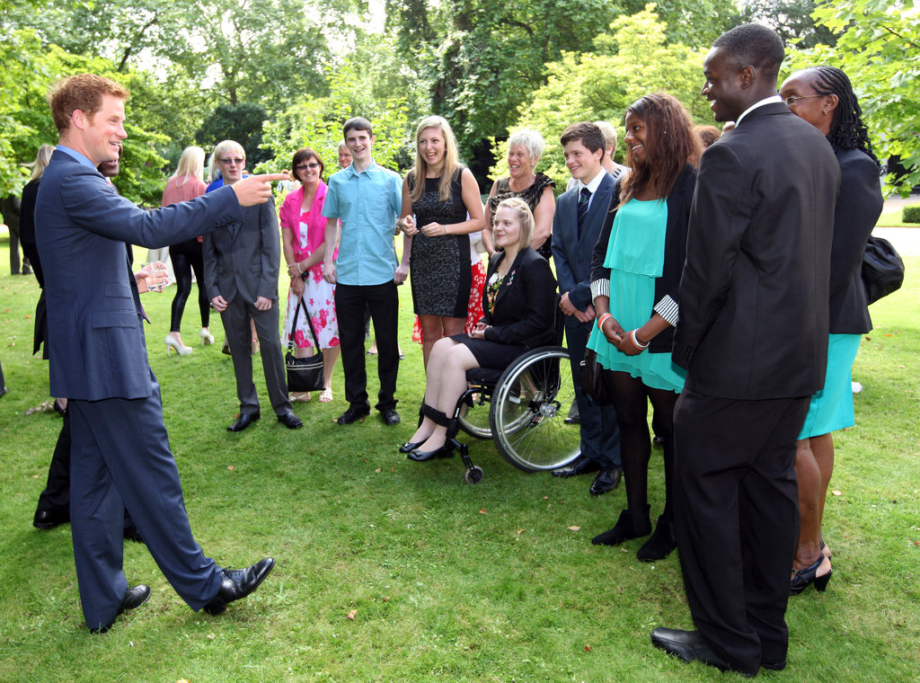 Prince Harry chatted with the young athletes.