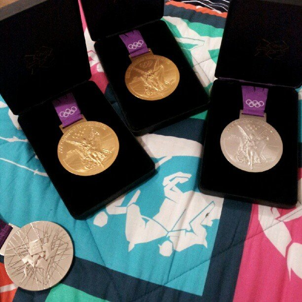 Teammates Nathan Gadrian and Matt Grevers showed off their combined medals. Source: Instagram user nathangadrian