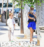 Kate Hudson went to lunch in LA with her boys.