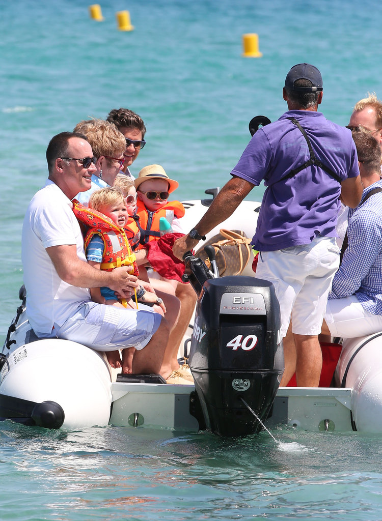 Elton John, David Furnish, Neil Patrick Harris, David Burtka, and their kids all piled into a boat.