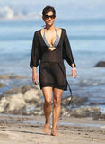 Halle Berry covered up her bikini in Malibu during April 2011.