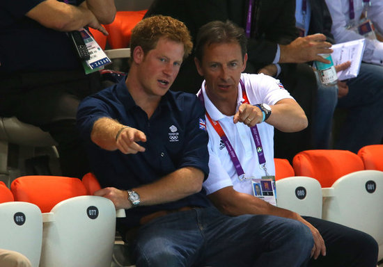 Prince Harry intently watched the divers at the Olympics.
