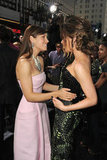 Jessica Biel hugged Kate Beckinsale at the Total Recall premiere in LA.