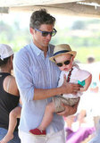 David Burtka arrived in Saint-Tropez with baby Gideon Burtka-Harris in his arms.